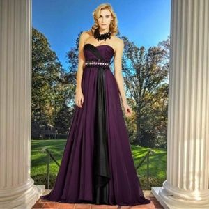 MNM COUTURE Jeweled Sweetheart Strapless Gown